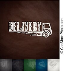 DELIVERY icon. Hand drawn vector illustration. Chalkboard...