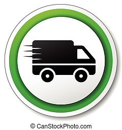 delivery icon - illustration of round white and green icon ...