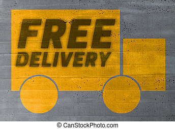 delivery icon on cement concept background