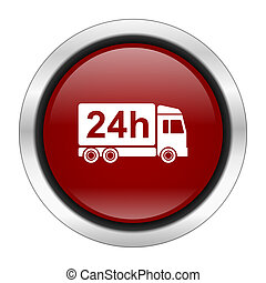delivery icon, red round button isolated on white background, web design illustration