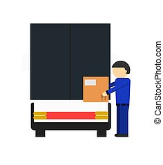 Delivery icon with loader man near freight truck