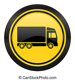 delivery icon, yellow logo, truck sign
