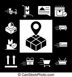 delivery icons set parcel tracking shipping, world trade logistics silhouette style