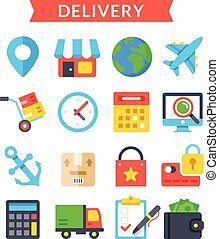 Delivery icons set. Shipping, delivery, logistics, warehouse...