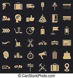 Delivery icons set, simple style
