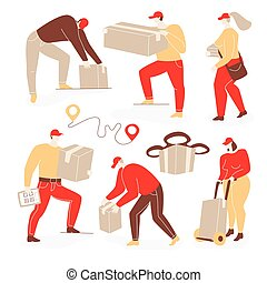 Delivery illustration with people