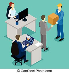 Delivery In Office Isometric Composition