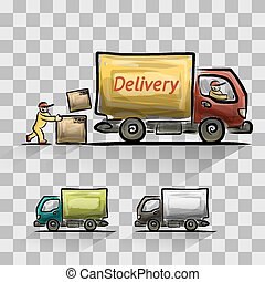 Delivery isolated set, vector illustration for your design, ...