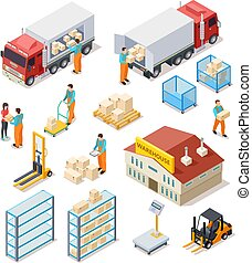 Delivery isometric. Logistic, distribution warehouse, truck with people workers carrying boxes package. 3d cargo industry vector set