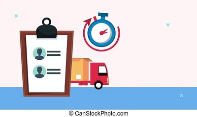 delivery logistic service with checklist and chronometer ,4k video animated