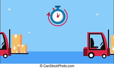 delivery logistic service with chronometer and forklift ,4k video animated