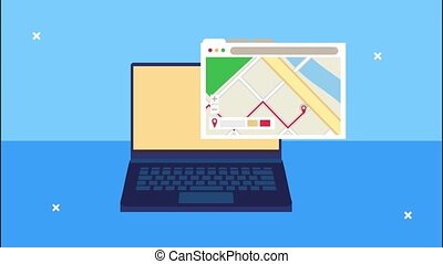 delivery logistic service with laptop and map guide in webpage template ,4k video animated