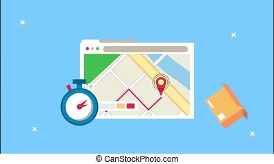 delivery logistic service with map guide in webpage template and chronometer ,4k video animated