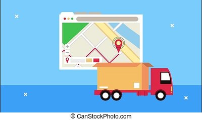 delivery logistic service with map guide in webpage template and truck ,4k video animated