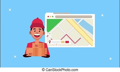 delivery logistic service with map guide in webpage template and worker lifting box ,4k video animated
