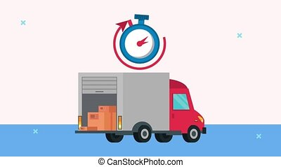 delivery logistic service with truck and chronometer ,4k video animated
