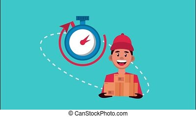 delivery logistic service with worker lifting box and chronometer ,4k video animated