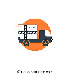 Delivery logistics services icon, move boxes, loading truck, fast time