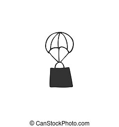 Delivery logo element. Vector flying shopping bag.