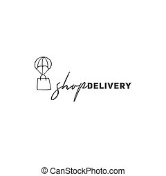 Delivery logo template with hand drawn vector flying shopping bag.