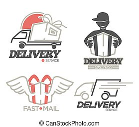 Delivery logo templates set for post mail, food or onlne shop express delivery service.