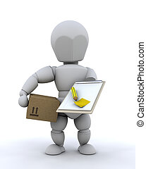 Delivery man - 3D render of delivery man with package and...