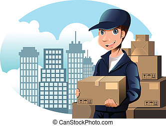A vector illustration of a delivery man holding a package