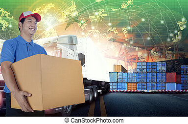 delivery man and card box and world wide logistic ,shipping business background