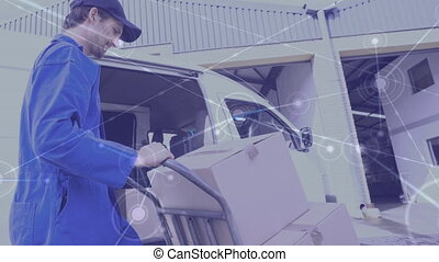 Delivery man and geometric lines 4k - Digital composite ...
