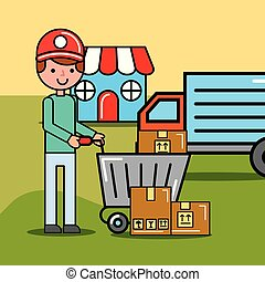 delivery man and shopping cart with boxes truck and market