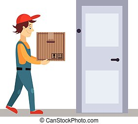 Delivery Man at Door with a Box, Vector Illustration -...