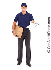 delivery man carrying a parcel and presenting receiving form...