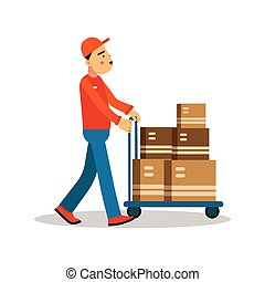 Delivery man carrying boxes on a hand truck, courier in uniform at work cartoon character vector Illustration