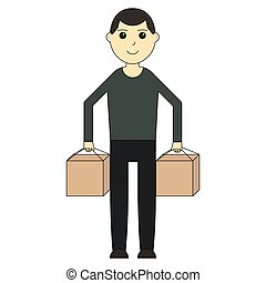 Delivery man. Cartoon character