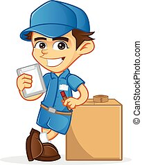 Cartoon illustration of a delivery guy