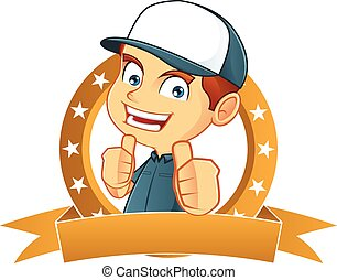 Cartoon illustration of a delivery man