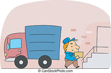 Delivery Man - Illustration of a Delivery Man at Work