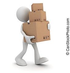 delivery man concept 3d illustration - delivery man 3d ...