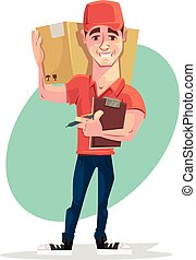 Delivery man courier character hold box. Vector flat cartoon illustration
