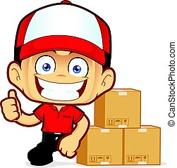 Delivery man courier leaning on boxs