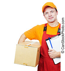 delivery man courier with parcel cardboard box