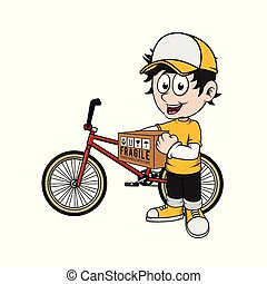 delivery man deliver a package with bike
