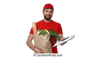 Delivery man delivering package of grocery and document.