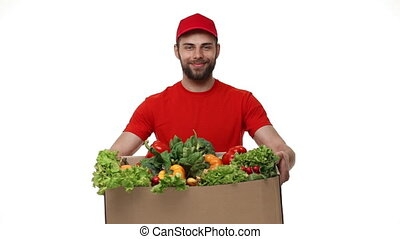 Delivery man delivering package of grocery. - Delivery man...