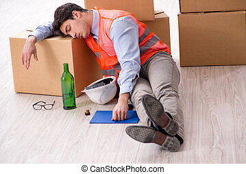Delivery man drunk at work