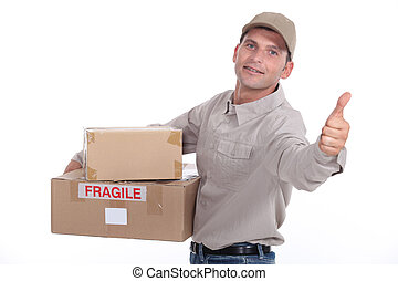 Delivery man giving the thumb's up