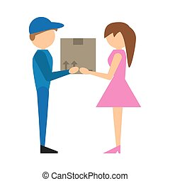 delivery man handing box girl