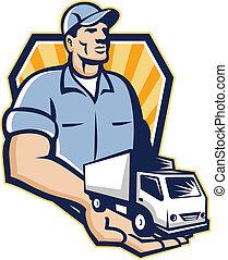 Delivery Man Handing Removal Van Crest Retro - Illustration...