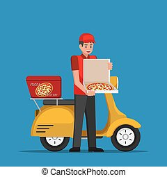Delivery man handling pizza box to customer.