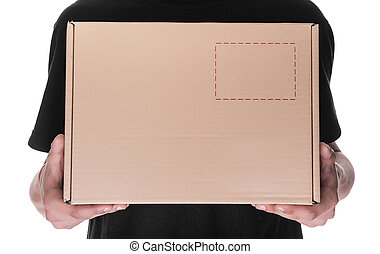 Delivery man holding a cardbox. - Delivery man holding a...